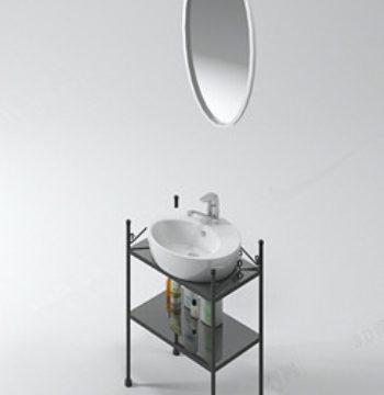 3d model of a round mirror sink