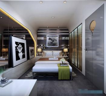 After creative decoration modern bedroom 3D model