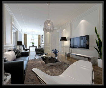 Black and white fashion simple the living room 3D model