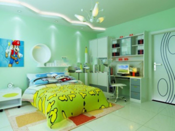 Bright green line childrens bedroom