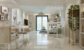 Fresh white dining living room 3d model