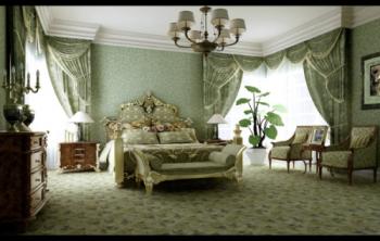 Green pastoral style bedroom 3d model