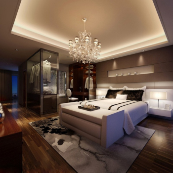 Modern and stylish master bedroom 3D model