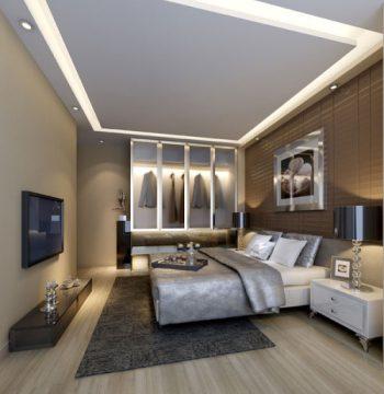 Modern bedroom 3D model texture Men
