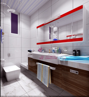 Modern bright and spacious bathroom 3D model ...