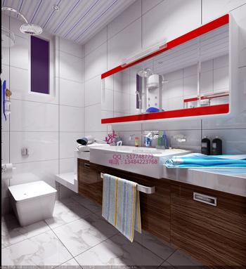 Modern bright and spacious bathroom 3D model ...