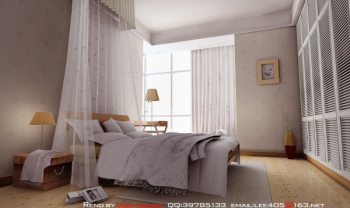 Simple small bedroom 3D model