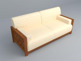 Wooden cream sofa