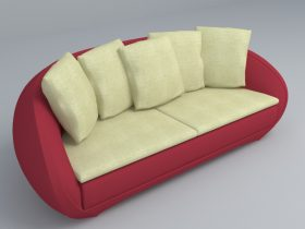 red and beige sofa