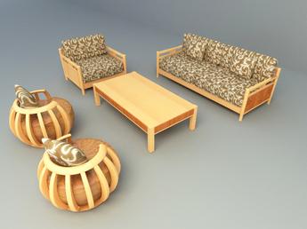 wooden sofa set 001