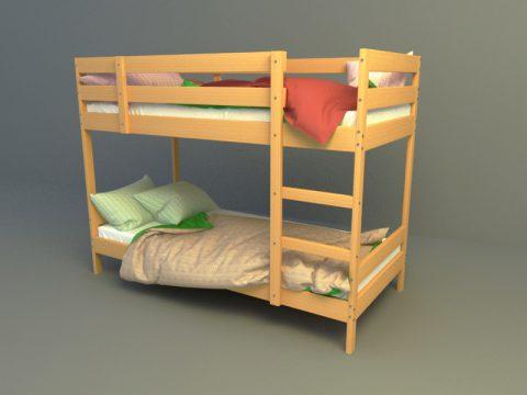 Double loft bed 3d model