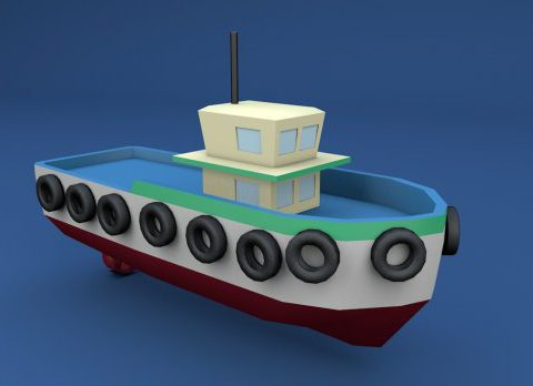 Low Poly Tugboat 3D model