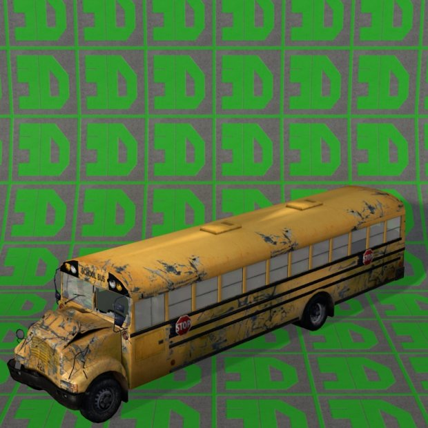 School Bus wrecked 3D model