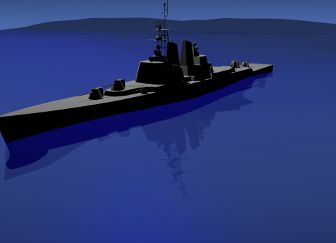 Simple warship 3D model