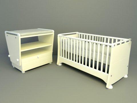 baby bed 3d skp model