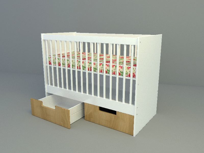 baby bed with drawer 3d max model