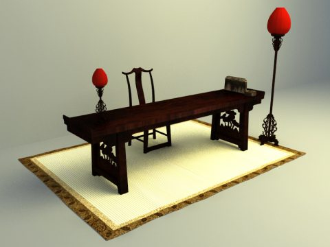 chinese culture design working table 3d model