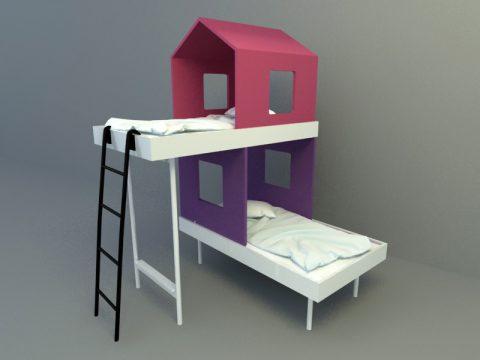 double loft children bed 3d model