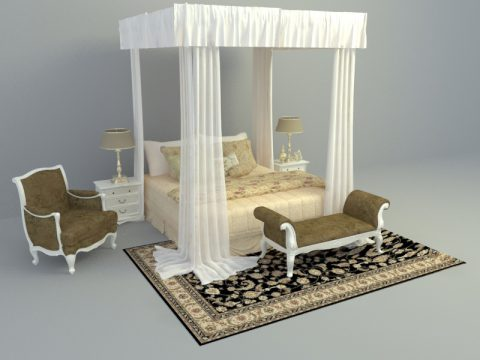 elegant bed set design 3d model free