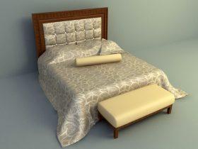 elegant brown color bed design 3d model