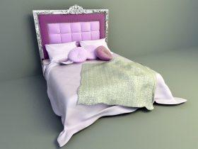 elegant pink color bed design 3d model