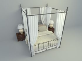 elegant with full height curtain bed design 3d max model