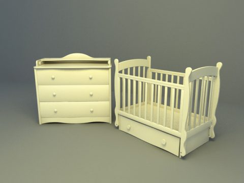 euro design baby bed with drawer 3d model