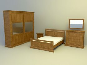 full set wooden furnishing with Bed 3d model