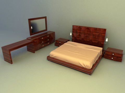 full set wooden furnishing with Bed 3d max model