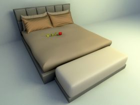 modern and fully cushion bed 3d model