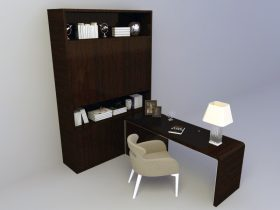 office furniture with table set 3d model