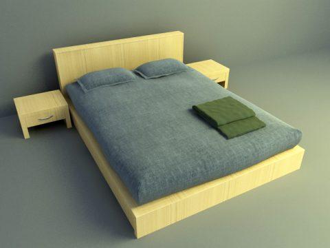 simple bed design 3d obj model