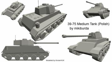 39-75 Medium Tank WoT polish concept 3D model
