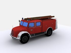 Magirus Deutz round-hood-Style Firetrucks middle 50s era 3D model