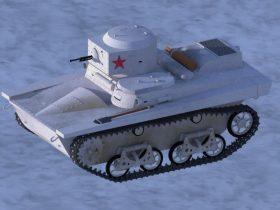 T37A amphibious light tank 3D model