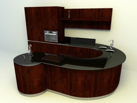wooden concept with curve shaped kitchen design 3d model