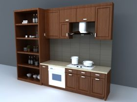 wooden kitchen set 3d model