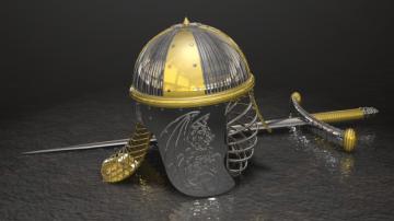 Helmet and Sword 3D model