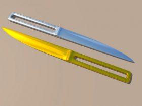 Knife Golden and Chromed 3D model