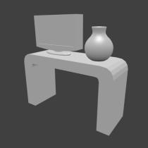 TV desk and vase 3D model