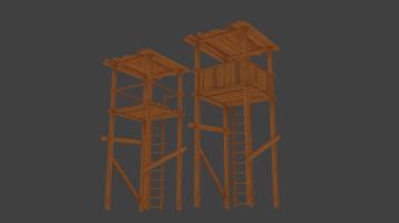 2 Wood towers 3D model