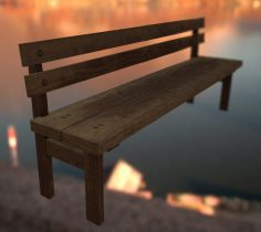 Bench with backrest 3D model