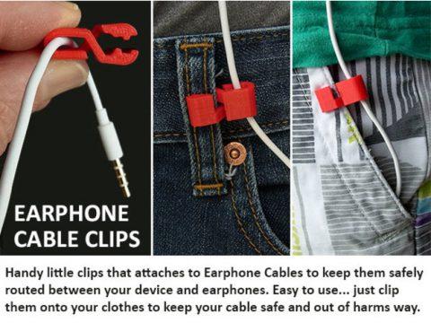 3D Earphone Cable Clip model