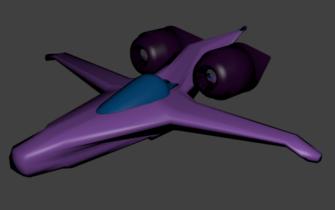 Small Purple Space Ship 3D model