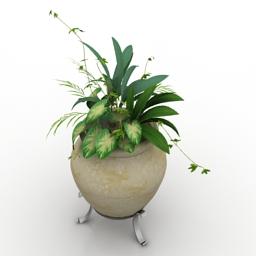 Vase with flower 3d model