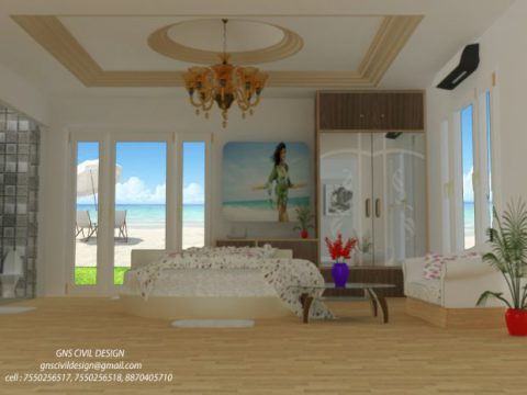 Beach view bed room 3D model