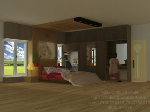 Bed room interior design 3D model