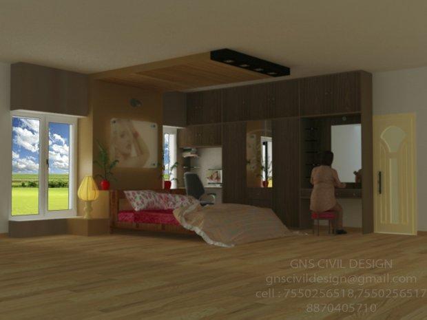 Bed room interior design 3D model