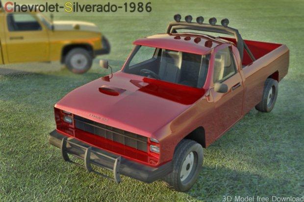 Chevrolet Silverado 1986 Jeep Free 3d Models