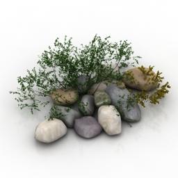 Bush stones 3d model